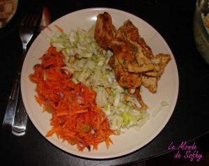 Salade de carottes râpées, endives, poulet