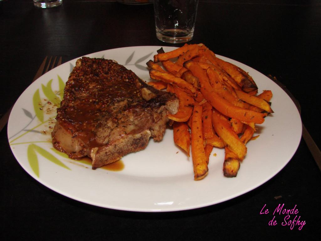 Côtes de veau et frites de patates douces