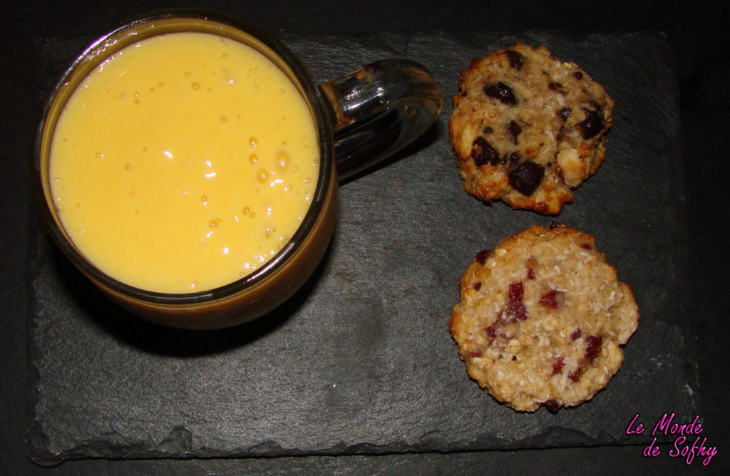 Smoothie mangue litchee cookies aux flocons d'avoine