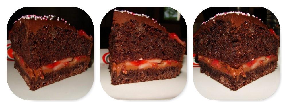 Gâteau d'anniversaire de Petit Piou : Le Devil's Food Cake au chocolat et aux fraises, bonbons au chocolat