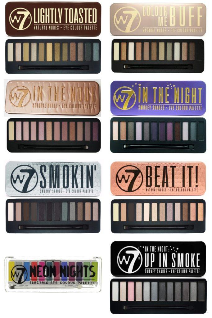 Palettes de fards à paupière W7 cosmetics