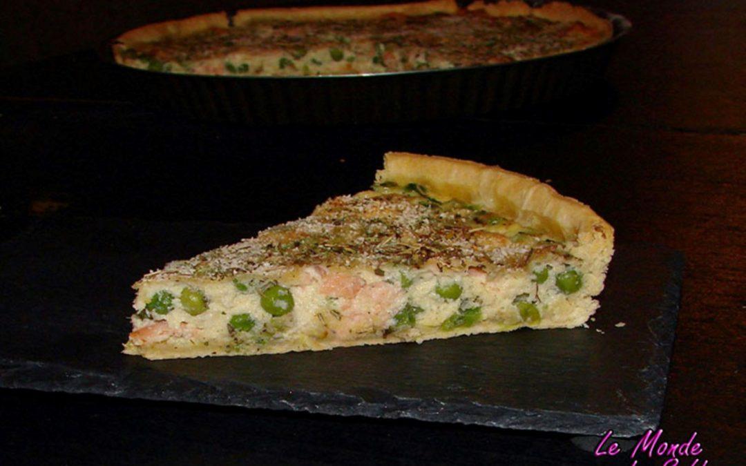 Tarte au saumon fumé, petits pois et parmesan