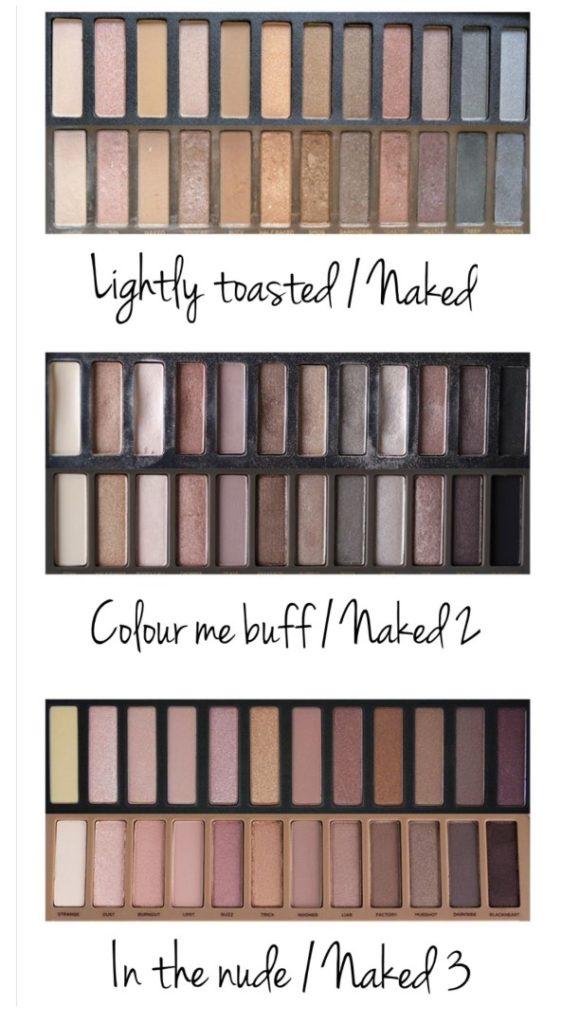 comparaison palettes W7 et Naked de Urban Decay
