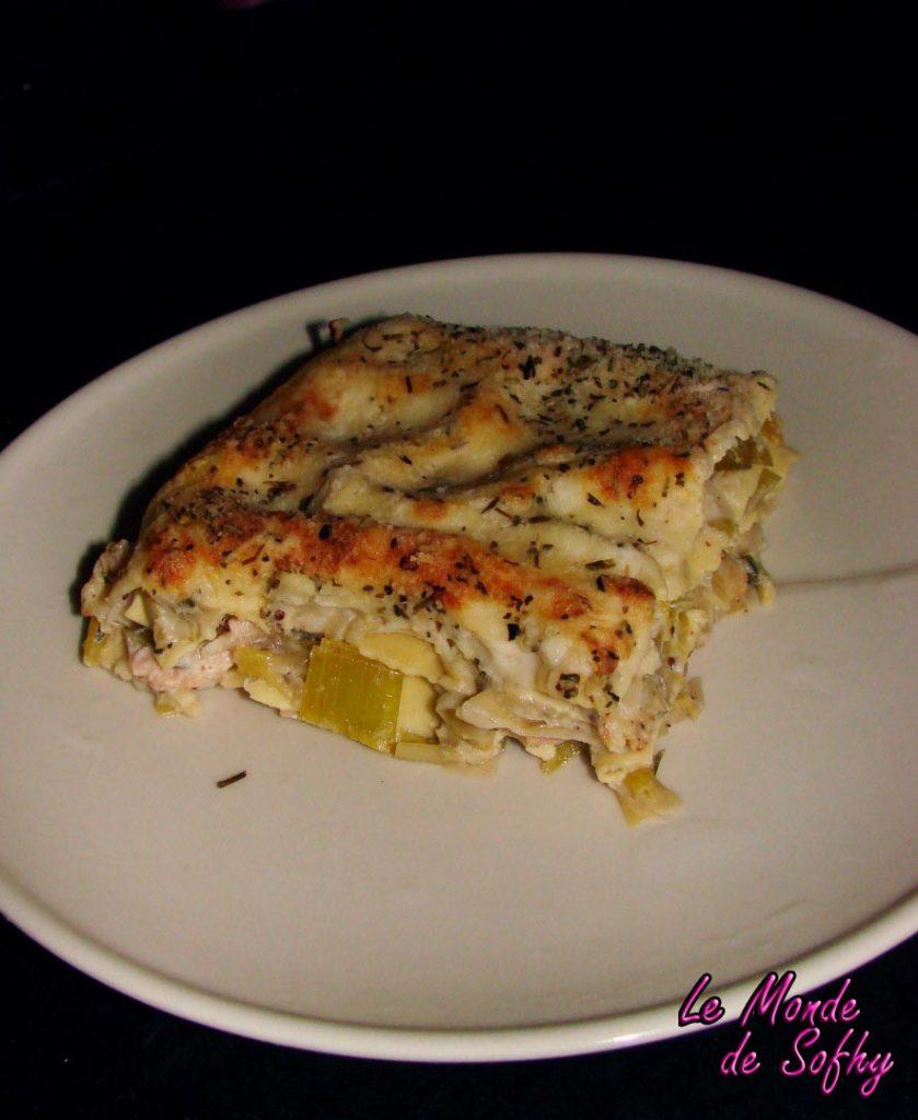 Lasagnes aux poireaux, saumon et chèvre
